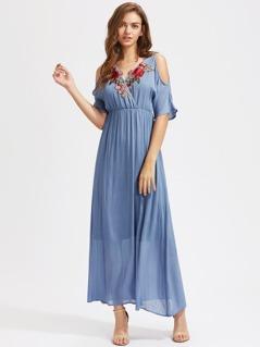 Rose Patch Surplice Front Open Shoulder Empire Waist Dress
