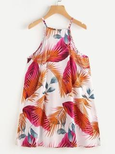 Leaves Print Cami Dress