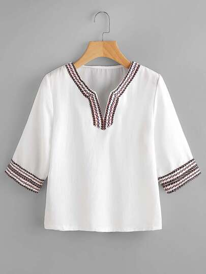 V Cut Embroidered Tape Blouse