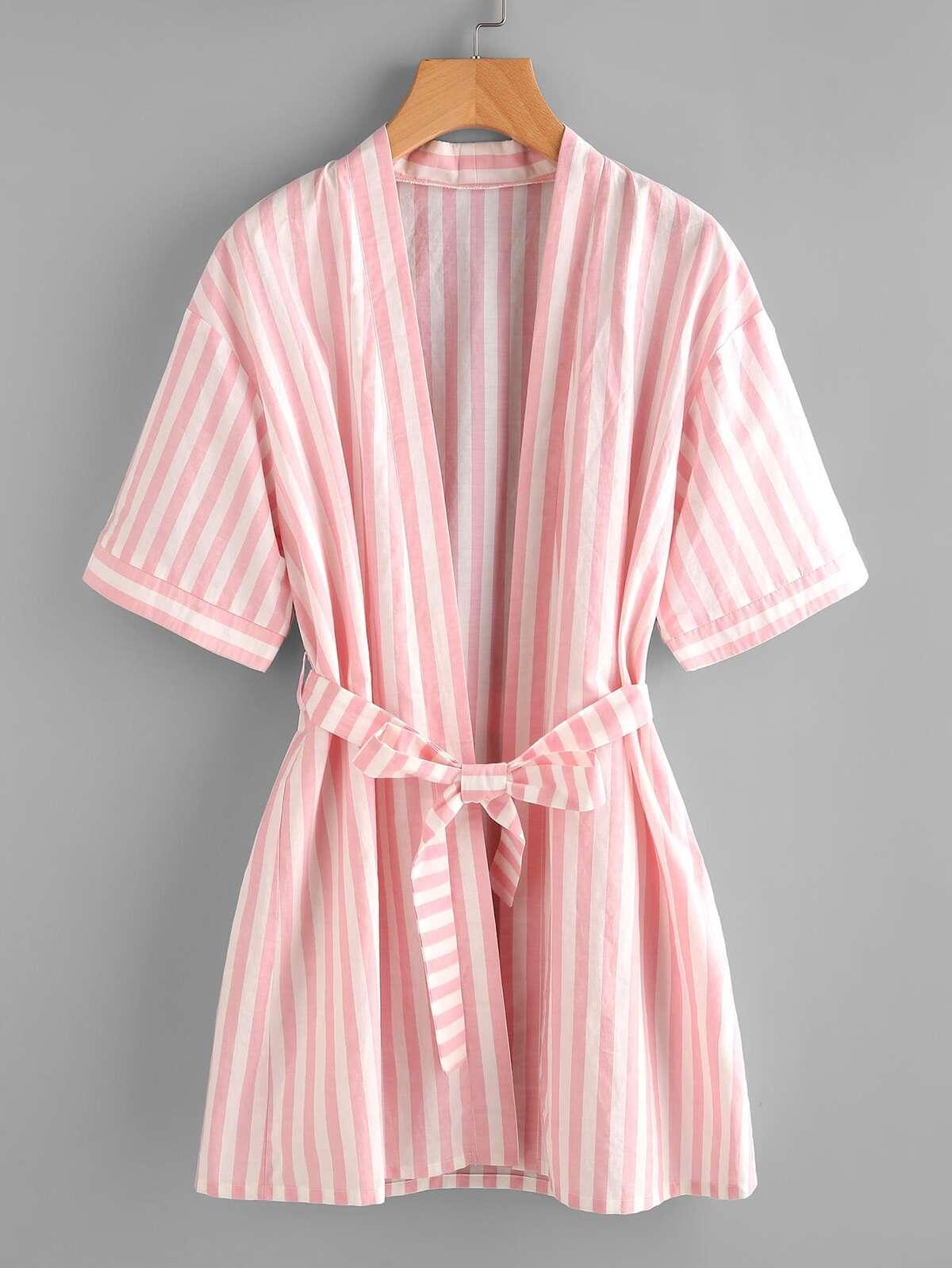條紋 日式睡袍 附有 綁帶
