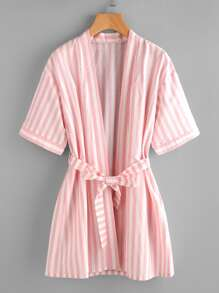 Striped Kimono Robe With Tie