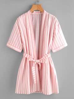 Striped Kimono Robe With Tie