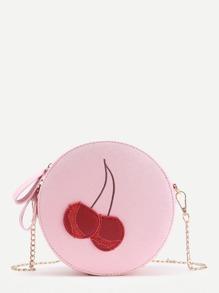 Cherry Pattern Round Shaped PU Bag