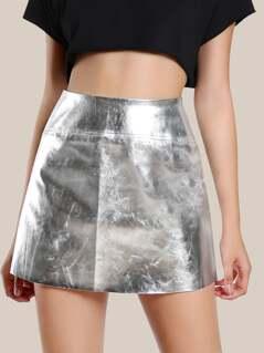 High Rise Metallic Skirt SILVER