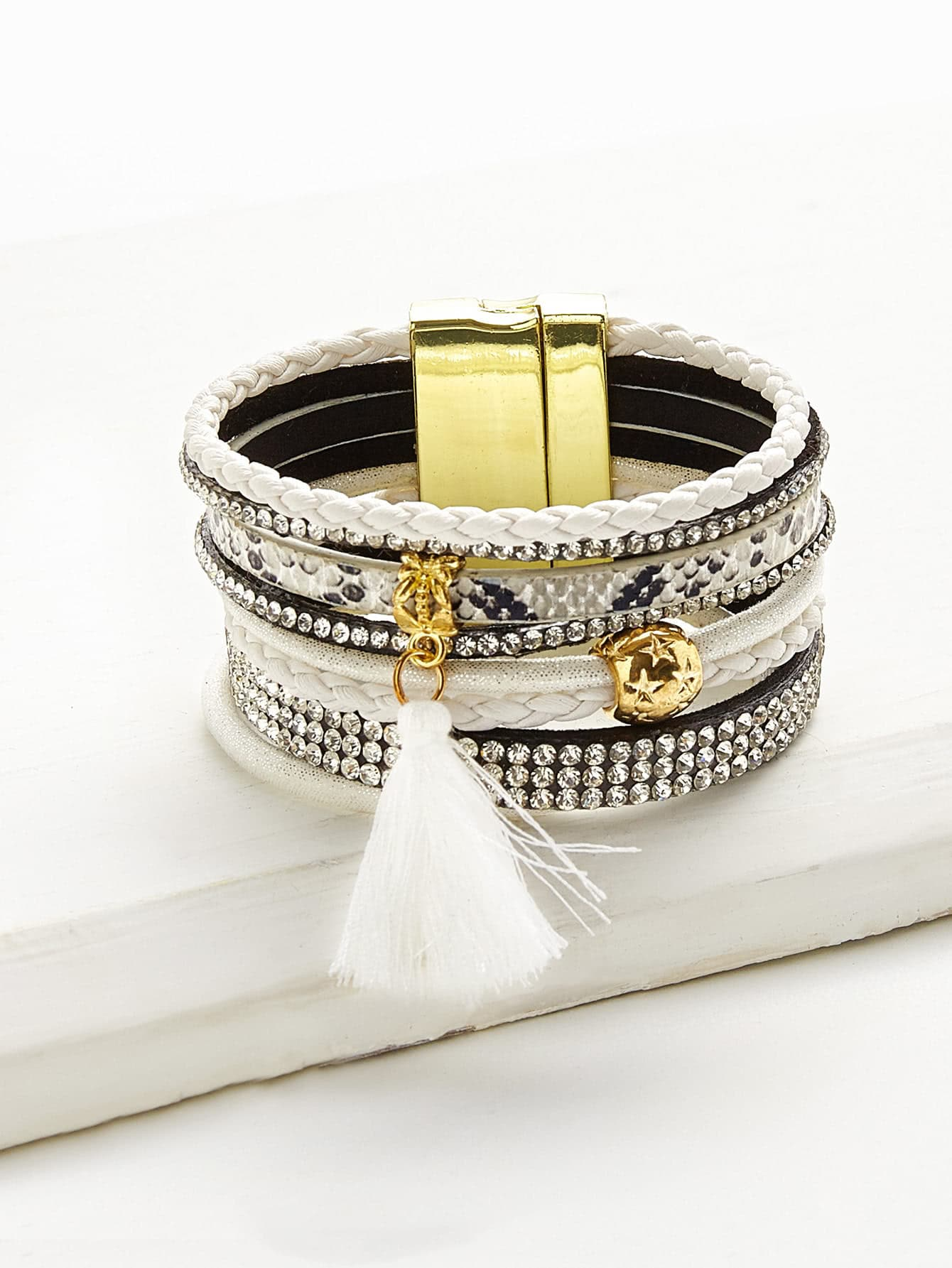 Tassel And Rhinestone Detail Layered Bracelet pearl and layered lace detail pullover