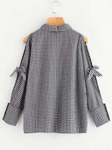 Knotted Split Dolman Sleeve Gingham Shirt pictures
