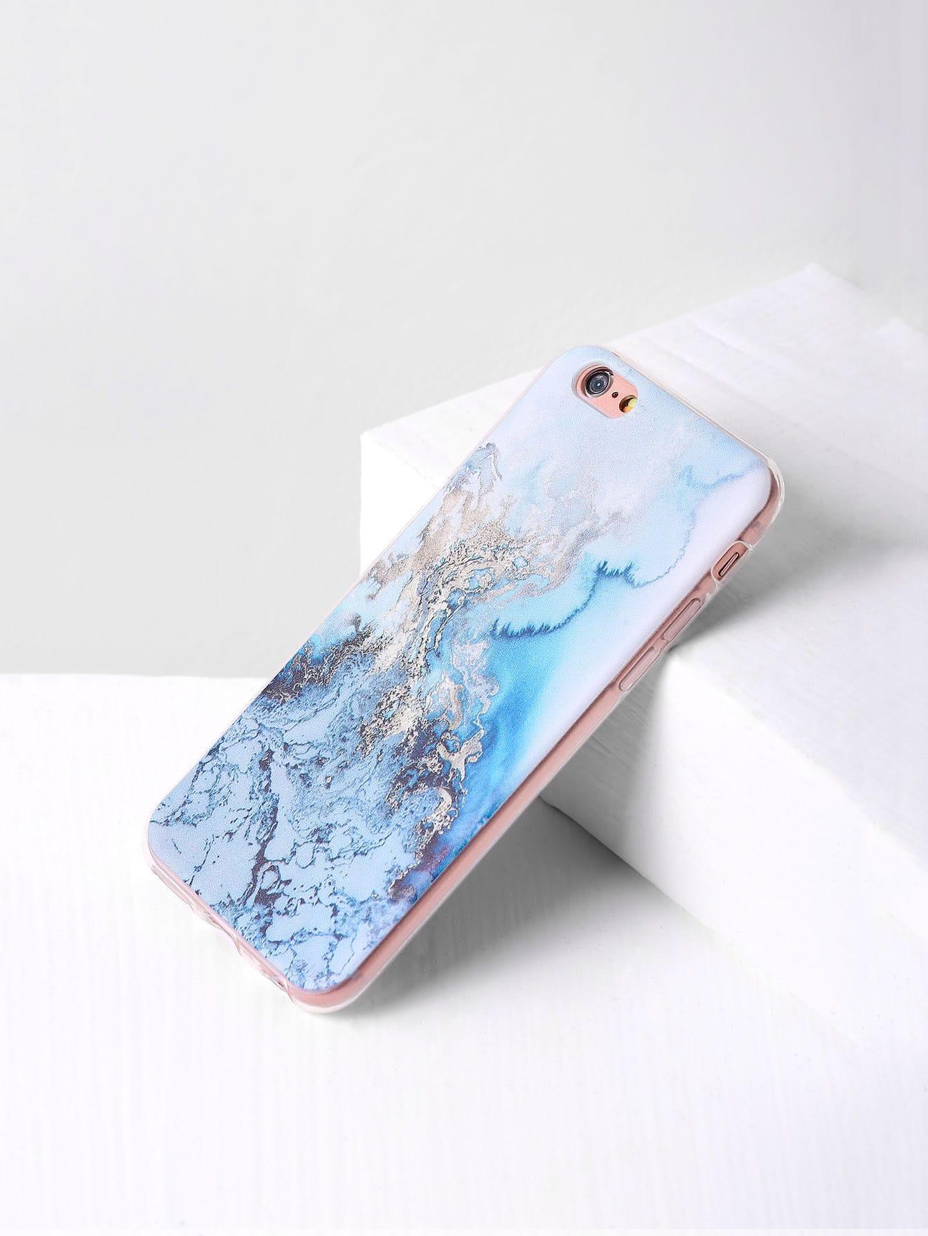 Купить Синий модные чехол для iPhone с принтом, null, SheIn