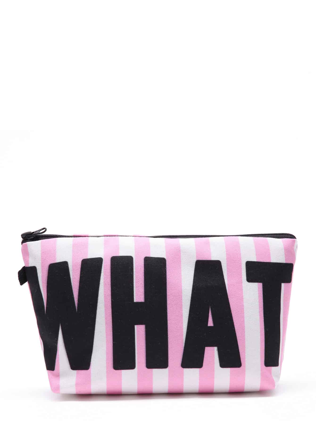 Slogan & Striped Print Cosmetic Pouch
