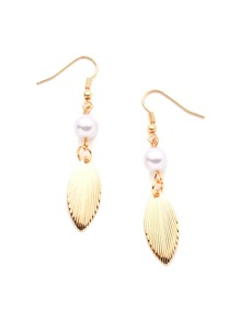Metal Leaf Design Earrings With Faux Pearl