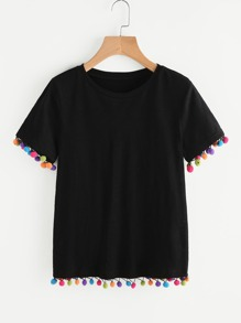 Colorful Pom Pom Trim Slub Tee
