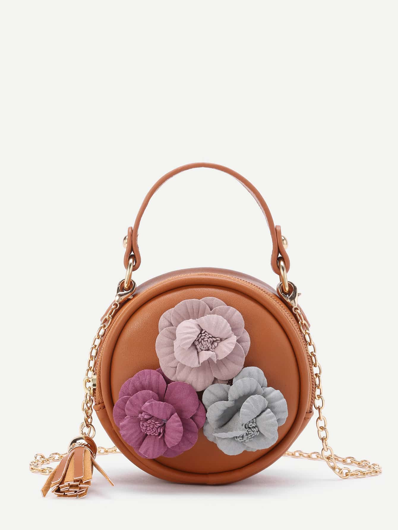 Image of 3D Flower Embellished Round Bag With Tassel