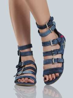Multi Buckle Denim Sandals DENIM
