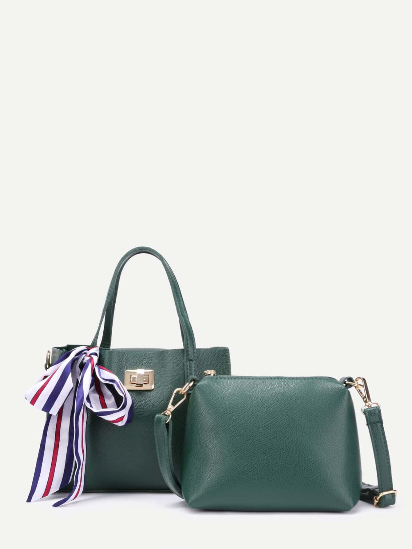 Фото Scarf Decorated PU Tote Bag With Shoulder Bag. Купить с доставкой