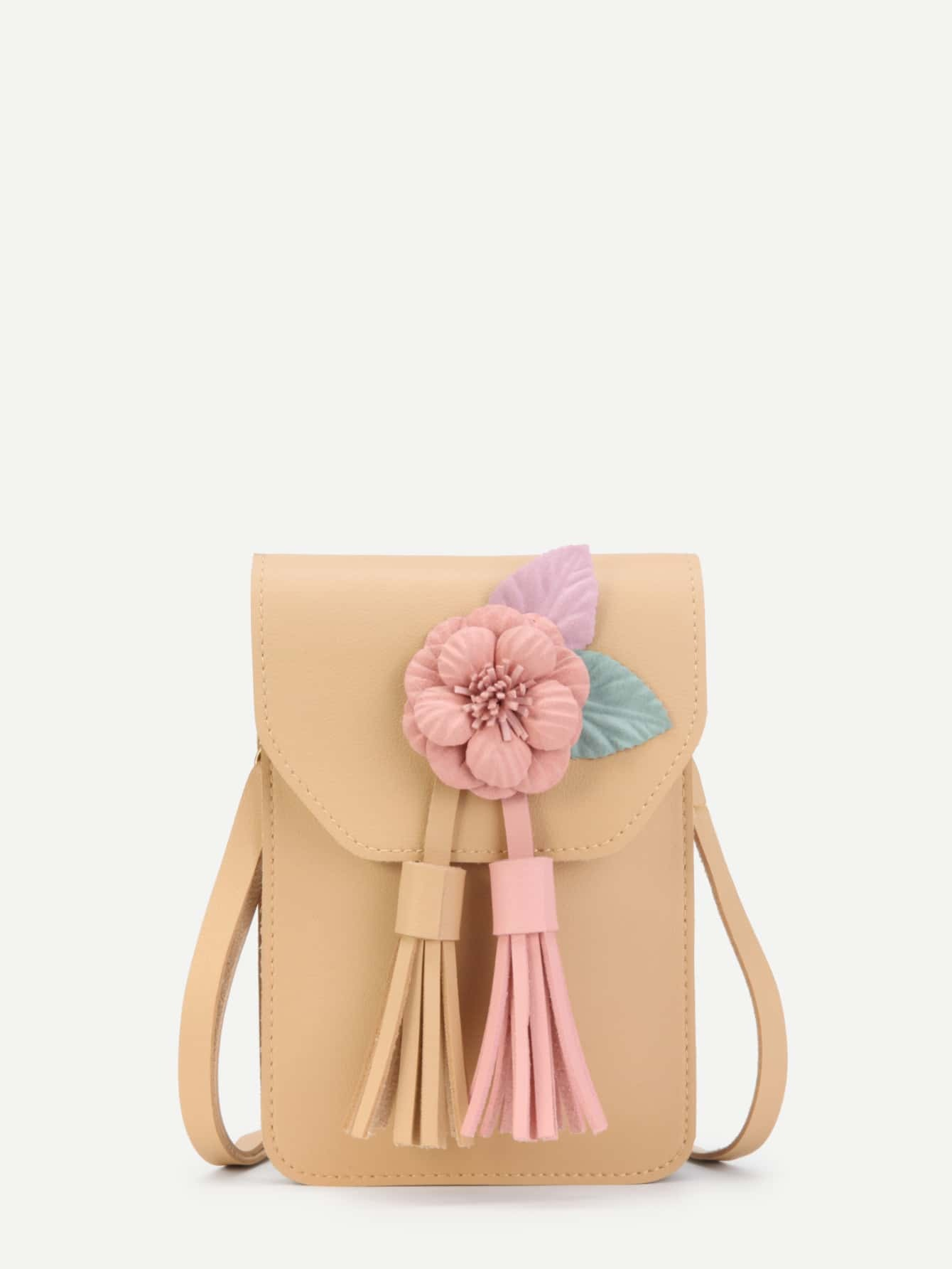 Tassel Detail PU Pouch Bag With Flower
