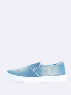 Sequin Acid Wash Denim Sneaker BLUE DENIM