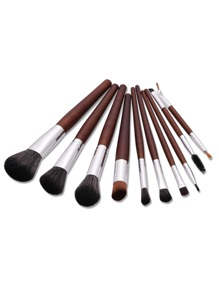 Wood Handle Eye Brush 10pcs