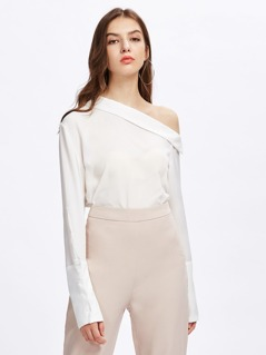 Asymmetric Flodover Shoulder Wide Cuff Blouse