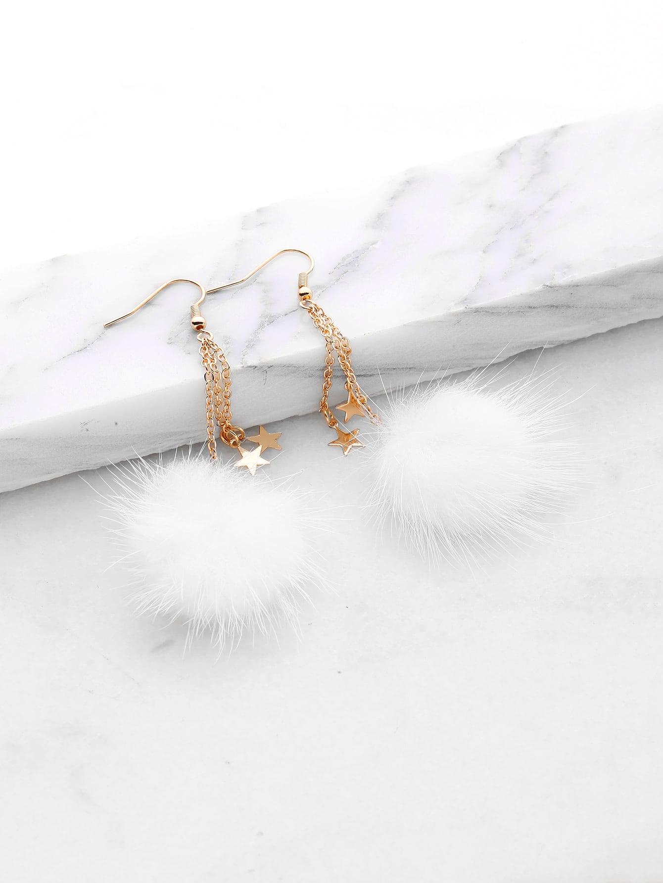 Фото Pom Pom & Star Detail Drop Earrings. Купить с доставкой