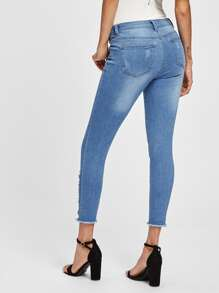 Slashed Frayed Hem Jeans pictures
