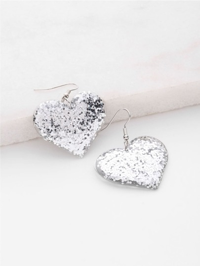 Sequin Heart Design Drop Earrings