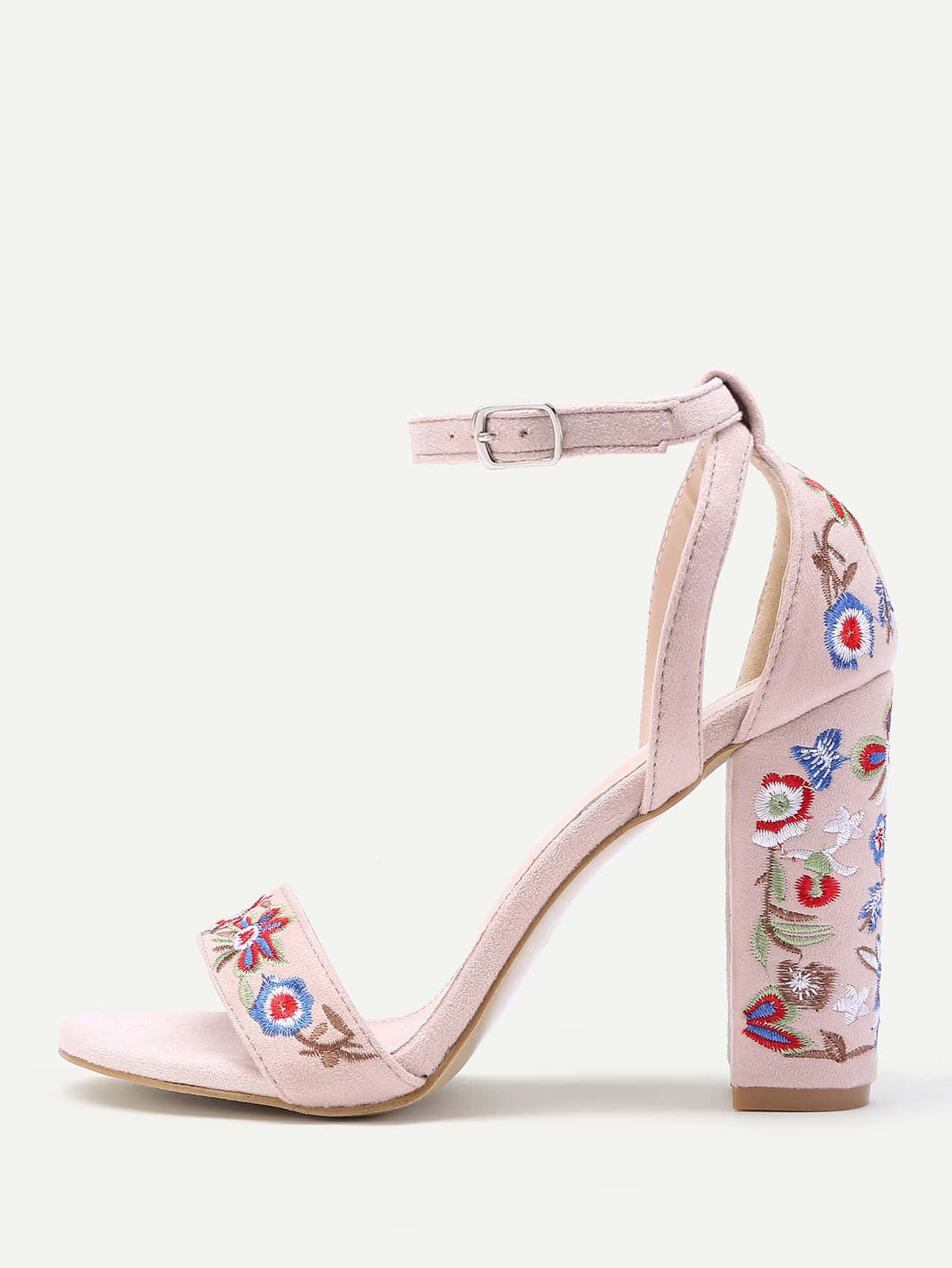 Фото Calico Embroidery Ankle Strap Heeled Sandals. Купить с доставкой