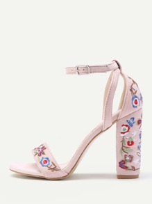 Calico Embroidery Ankle Strap Heeled Sandals