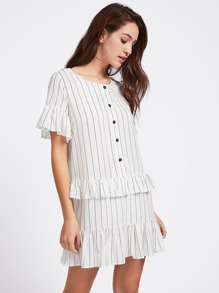 Vertical Pinstriped Frill Trim Dress