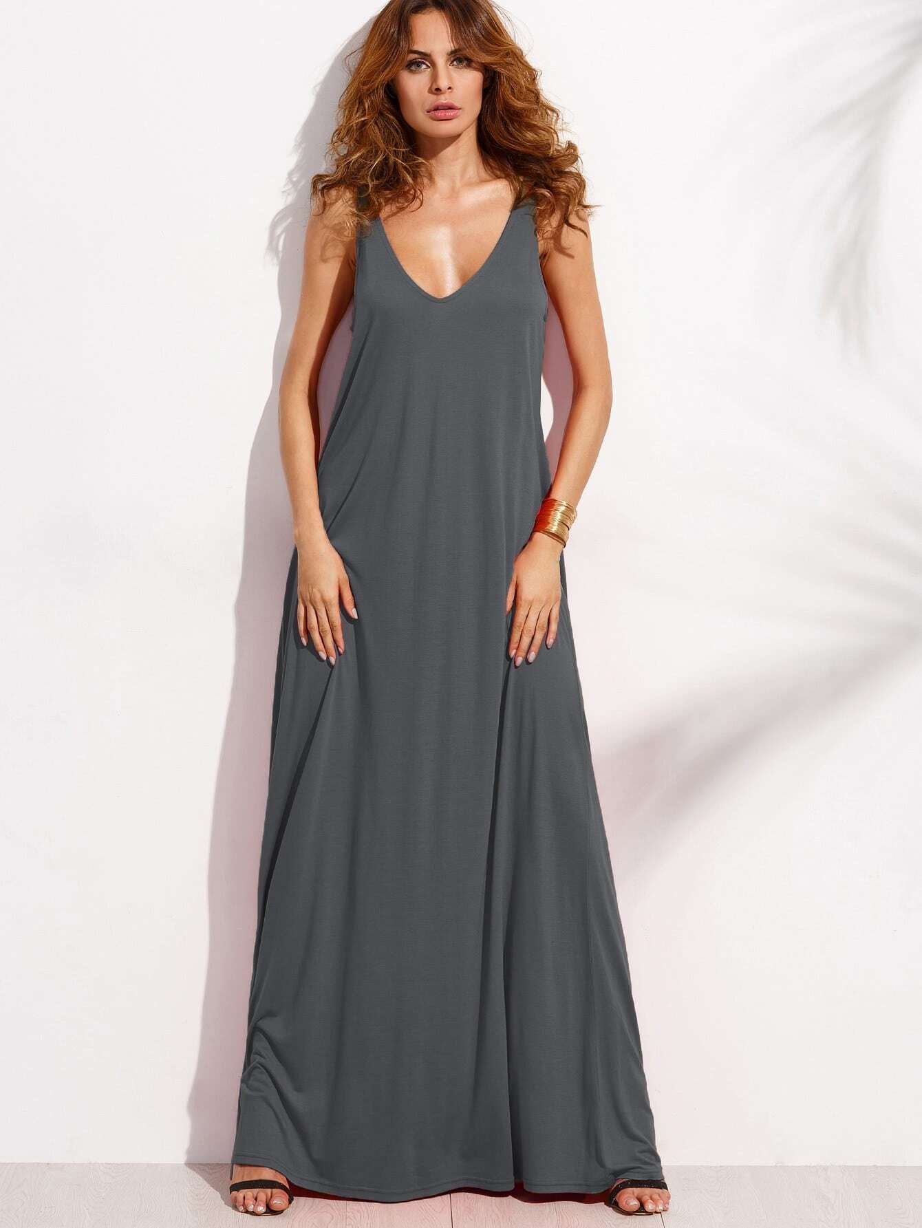 Double V Neck Jersey Tent Dress dress170706460