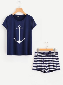 Anchor Print Tee And Striped Shorts Pajama Set