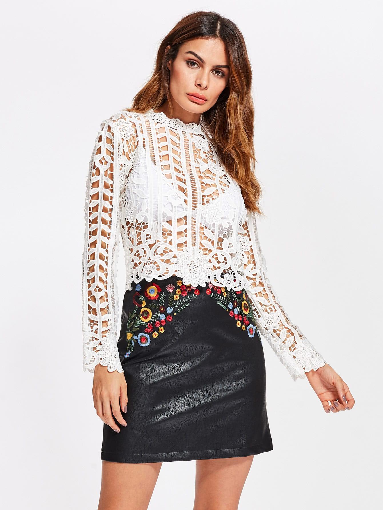 Фото Crochet Lace Top With Zip Back. Купить с доставкой