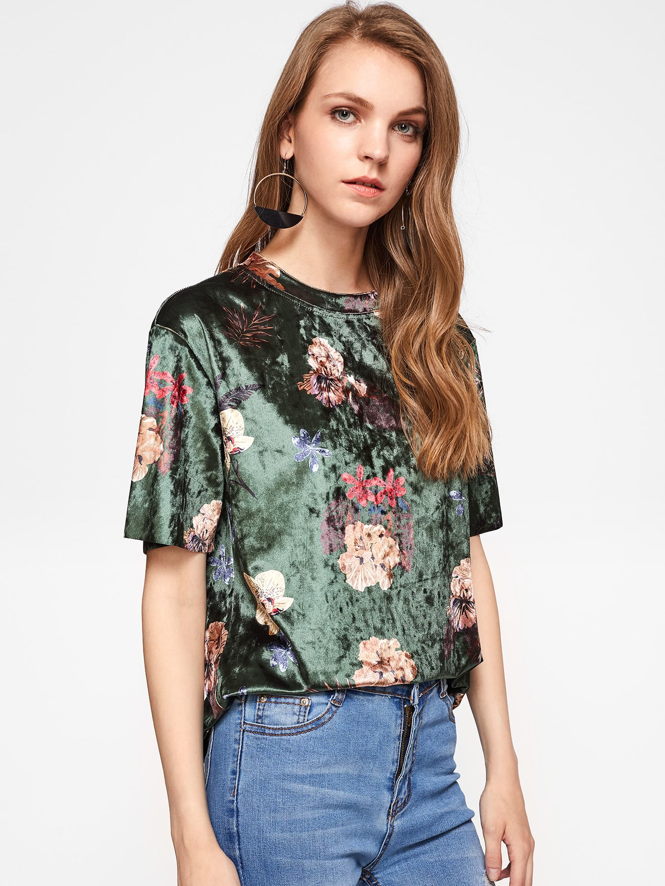 Flower Print Velvet T-shirt redfox футболка flower t 42 4300 желтый