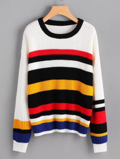 Drop Shoulder Colorful Striped Jumper