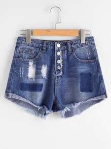 Shorts desgastados en denim en color block