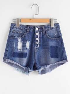 Color Block Cuffed Distressed Denim Shorts