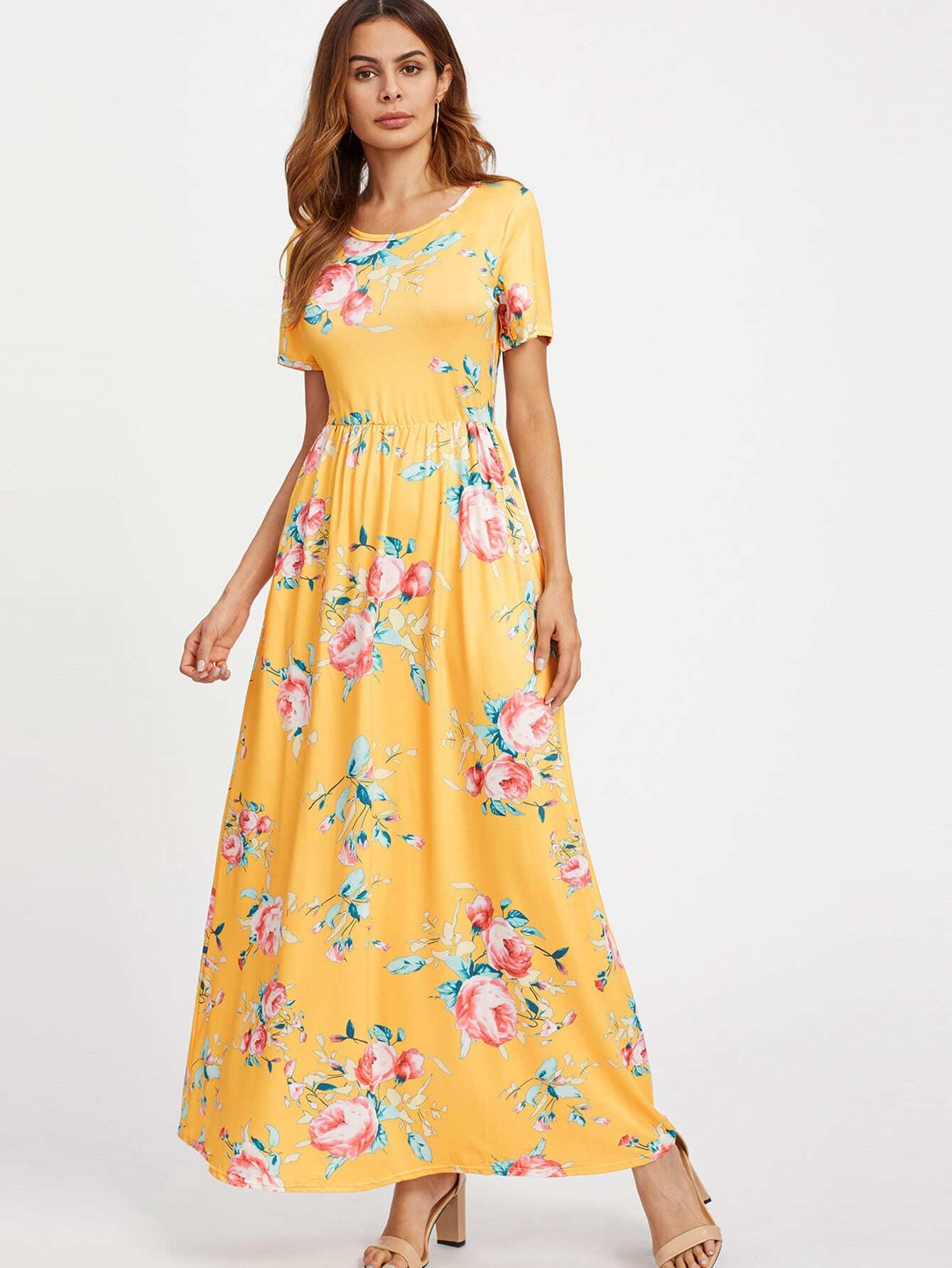 All Over Florals Full Length Dress all over florals hanky hem dress