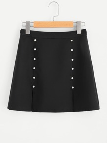 Symmetrical Pearls Front M-Slit Skirt