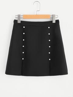 Symmetrical Pearls Front M-Slit Skirt