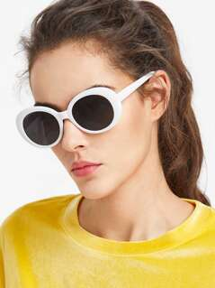 Contrast Frame Flat Lens Cat Eye Sunglasses