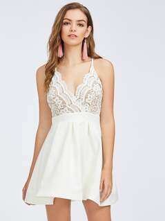 Guipure Lace Bodice Box Pleated Cami Dress