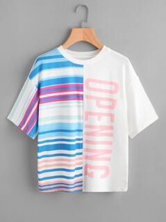 Drop Shoulder Mixed Print Slub Tee
