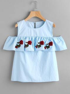 Open Shoulder Rose Applique Flounce Top