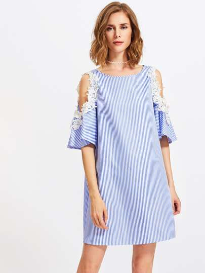 Lace Applique Open Shoulder Bell Sleeve Dress