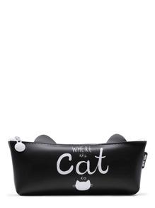Estuche en forma de gato con slogan