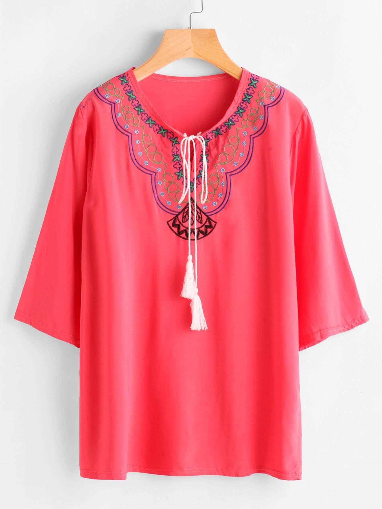 Tassel Tie Neck Embroidery Blouse -SheIn(Sheinside)