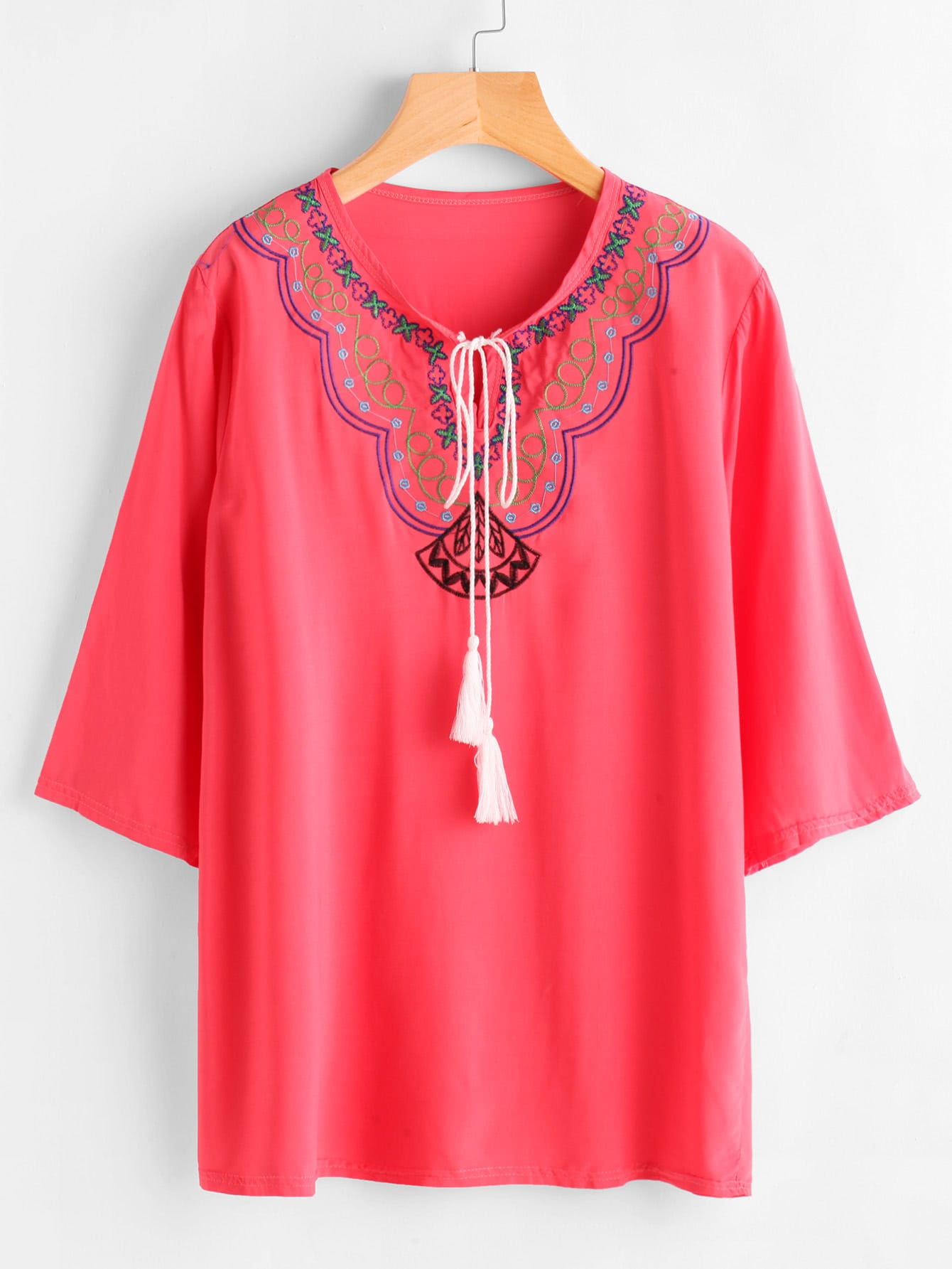 Tassel Tie Neck Embroidery Blouse blouse170712104
