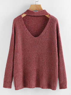 Cutout Choker Neck Jumper