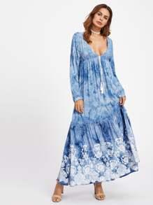 Tasseled Tie Plunge Neck Empire Waist Tie Dye Dress