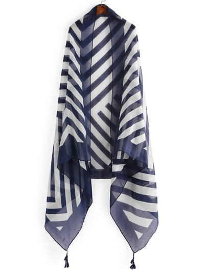 Chevron Striped Print Scarf With Tassel