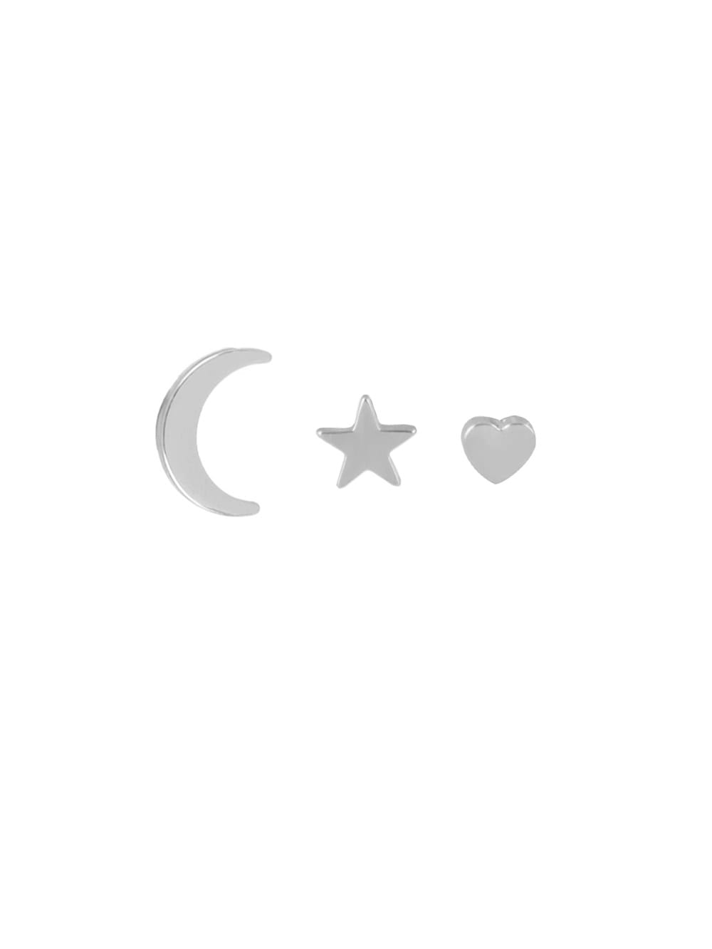 3 Pairs/set Silver Color Moon Heart Star Trendy Earrings