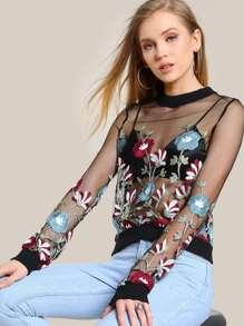 Embroidered Floral Mesh Sweatshirt